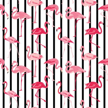 Flamingo Bird Background - Retro seamless pattern in vector