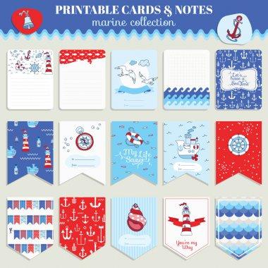 Nautical Sea Card Set - for scrapbook, wedding, party, design