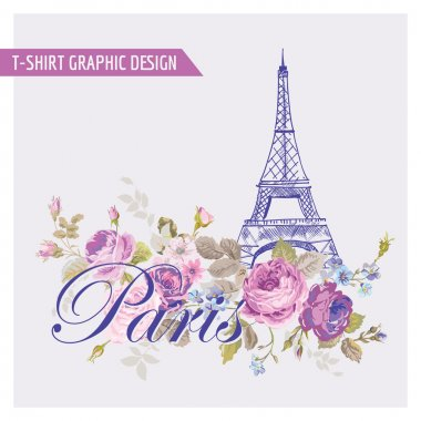 Floral Paris Graphic Design - for t-shirt, fashion, prints