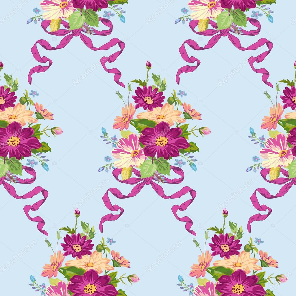 Spring Flowers Backgrounds Seamless Floral Shabby Chic Pattern