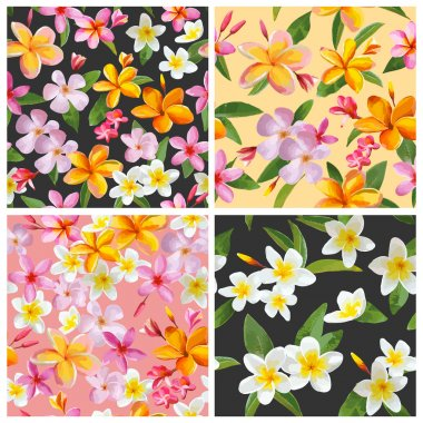 Set of Tropical Flowers Backgrounds - Vintage Seamless Pattern