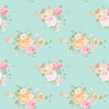 Vintage Flowers Background - Seamless Floral Shabby Chic Pattern