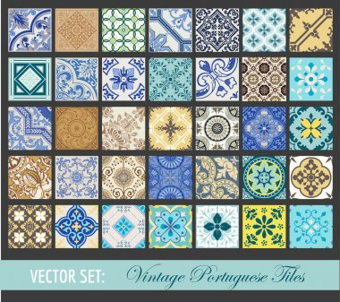Seamless Vintage Tiles Background Collection - Portuguese Tiles