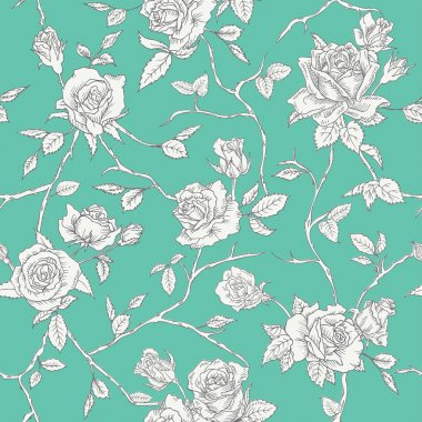 Floral Roses Background - Seamless Vintage Pattern