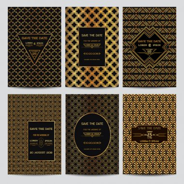 Set of Wedding Invitation Cards - Save the Date - Art Deco Vintage style