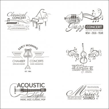 Music and Instruments - Labels, Badges, Identity, Logotypes - vector clip art vector