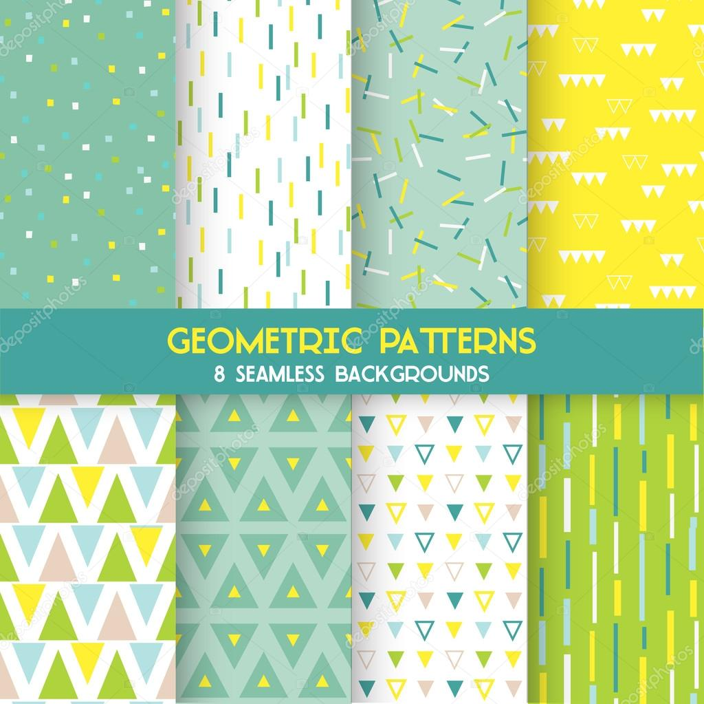8 Seamless Geometric Patterns - Texture for wallpaper, background