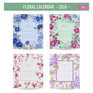 Floral Calendar - 2016 - with Vintage Flowers - in vector : volume 1