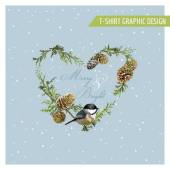 Photo Christmas Winter Birds Graphic Design - for t-shirt, fashion, prints