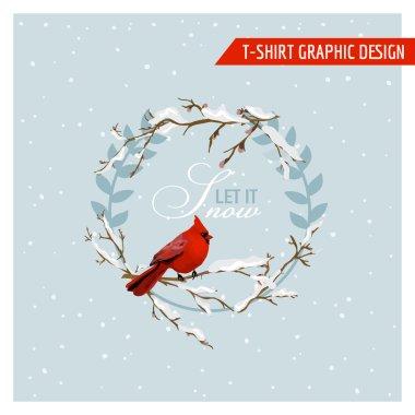 Christmas Winter Birds Graphic Design - for t-shirt, fashion, prints