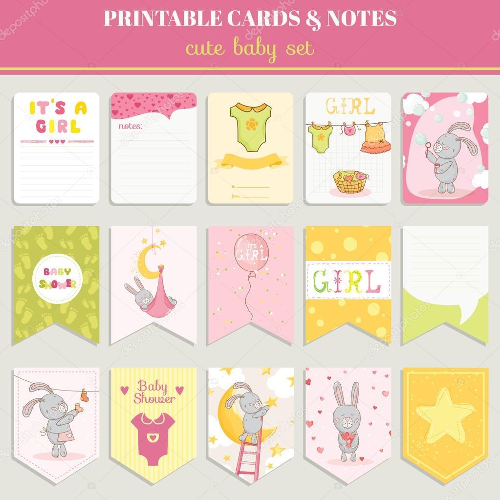 아기 소녀 카드 세트-생일, 베이비 샤워, 파티, 디자인에 대 한 ...