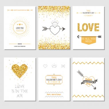 Set of Love Cards - Wedding, Valentine's Day, Invitation