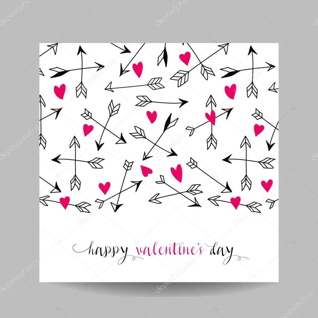 Liebe Karte Mit Pfeilen Hochzeit Valentinstag Einladung