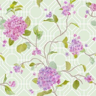 Vintage Hydrangea Geometry Background - seamless pattern