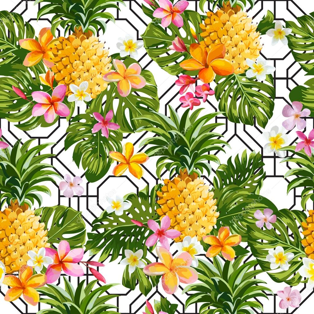 Pinapples and Tropical Flowers Geometry Background -Vintage Seamless Pattern