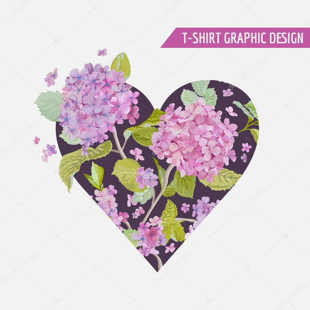 Floral Heart Graphic Design - for t-shirt, fashion, prints