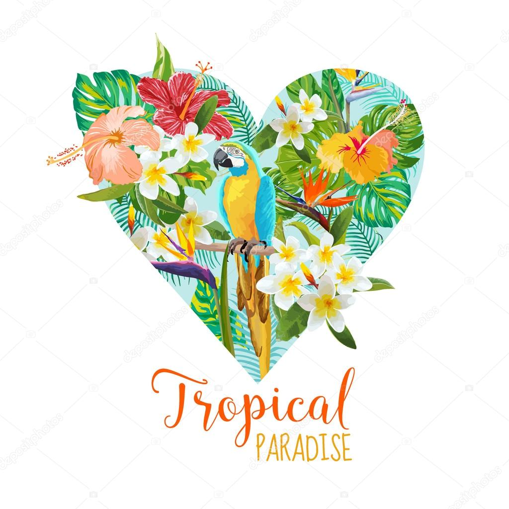 Floral Heart Graphic Design - Tropical Flowers and Bird - for t-shirt