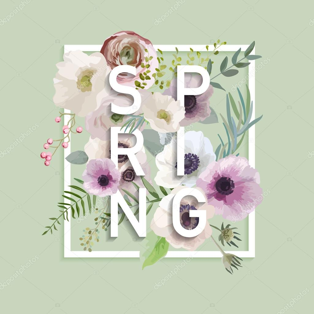 Floral Spring Graphic Design - with Anemone Flowers - for t-shirt