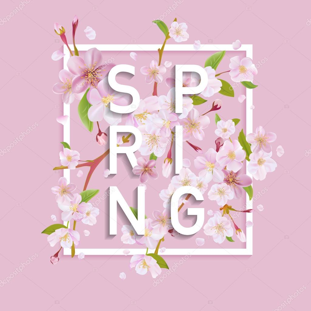 Floral Spring Graphic Design - - with Cherry Blossom Tree
