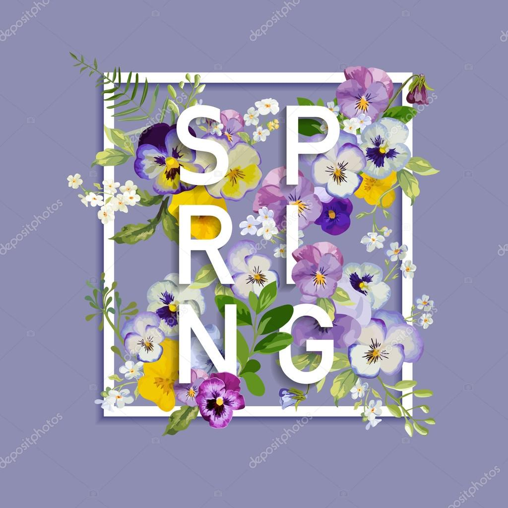 Floral Spring Graphic Design - with Pansy Flowers - for t-shirt