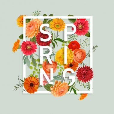 Floral Spring Graphic Design - with Colorful Flowers - for t-shirt