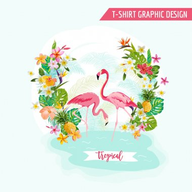 Tropical Graphic Design - Flamingo and Tropical Flowers - for t-shirt