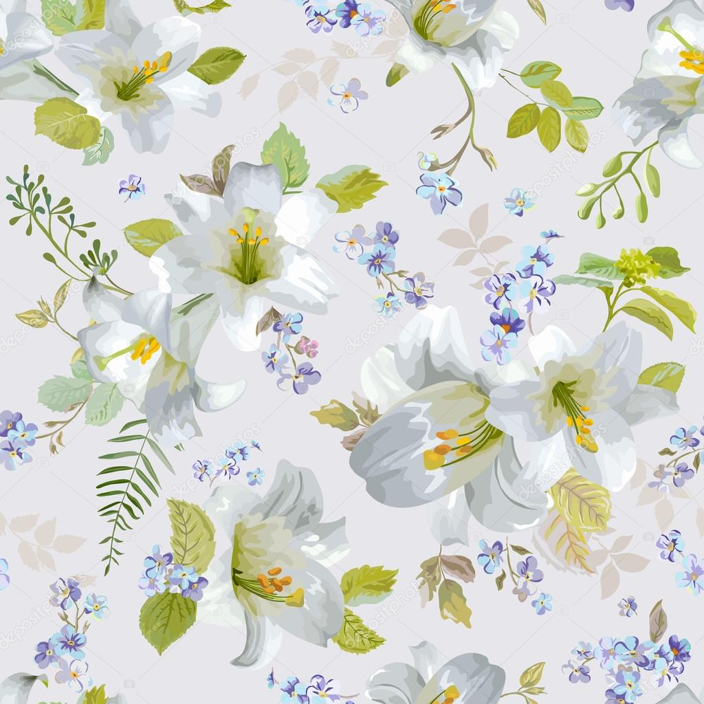 Spring Lily Flowers Backgrounds Seamless Floral Shabby Chic