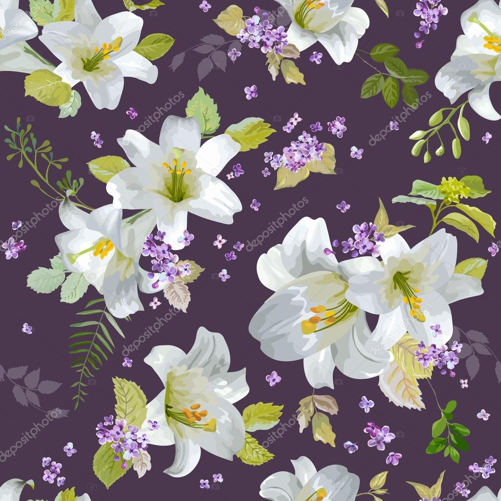 Spring Lily Flowers Backgrounds - Seamless Floral Shabby Chic Pattern