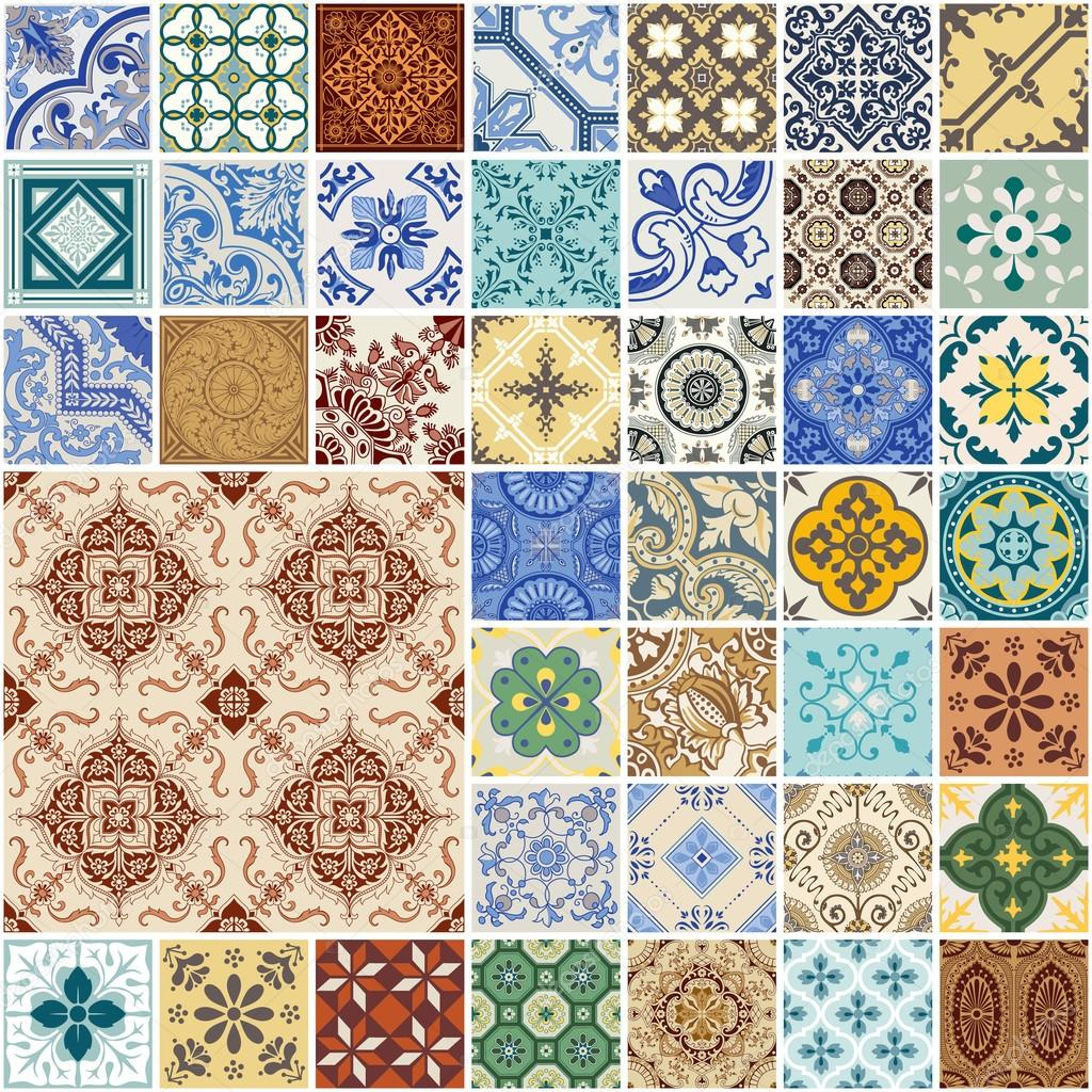 Colorful seamless patchwork pattern spagna e set di Piastrelle marocchine