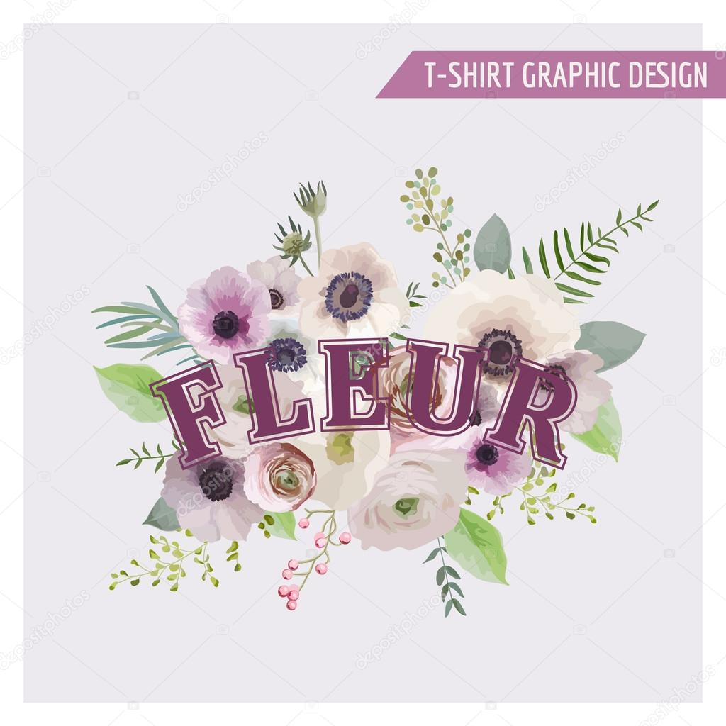 Floral Shabby Chic Graphic Design - for t-shirt, fashion, prints