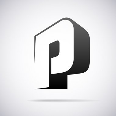 Vector logo for letter P. Design template