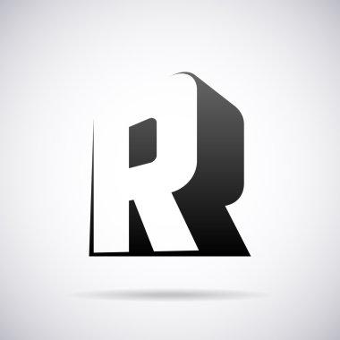 Vector logo for letter R. Design template