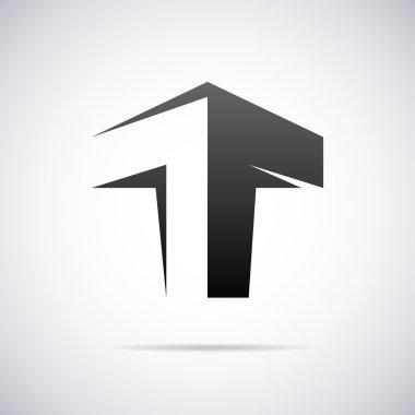 Vector logo for letter T. Design template