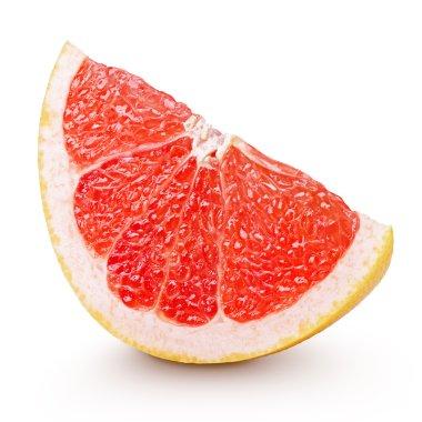 Slice of grapefruit citrus fruit isolated on white
