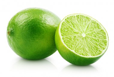 Fresh lime citrus fruit with slice