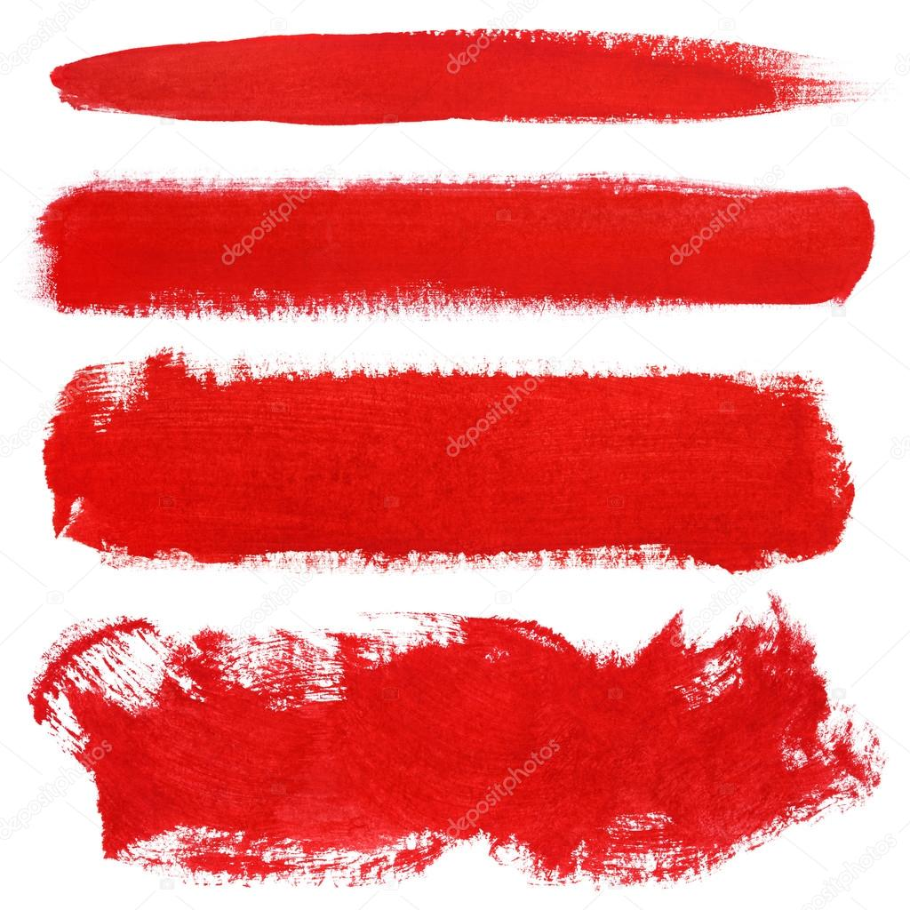 Red strokes of gouache paint brush — Stock Photo © usersam2007 #69438107