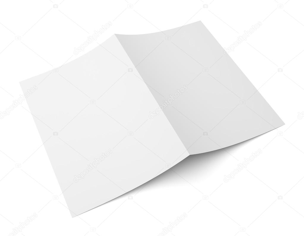 Blank folded flyer, booklet, postcard, business card or brochure ...