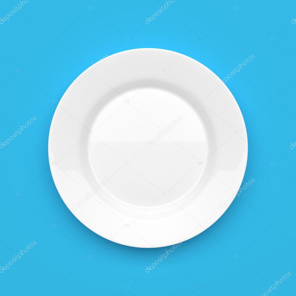 Piatto Ceramica Bianco.Piatto Tondo In Ceramica Bianco Vuoto Sull Azzurro Foto