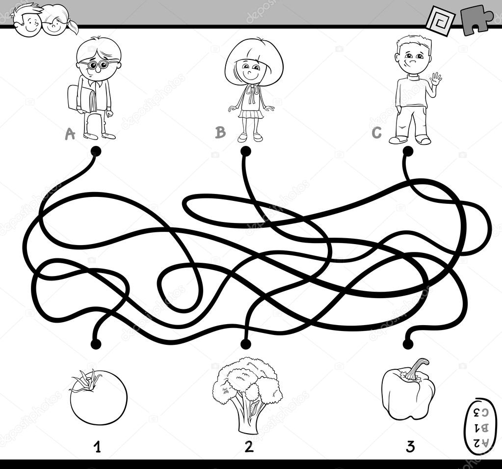 Black And White Cartoon Illustration Of Educational Paths Or Maze Puzzle Task For Preschoolers With Children Vegetables Coloring Book Vector By