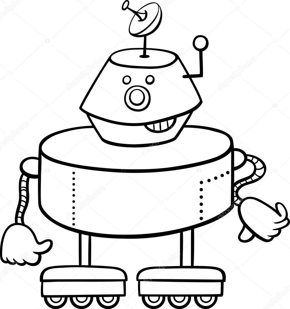 Robot Karakter Boyama Kitabı Stok Vektör Izakowski 101049406