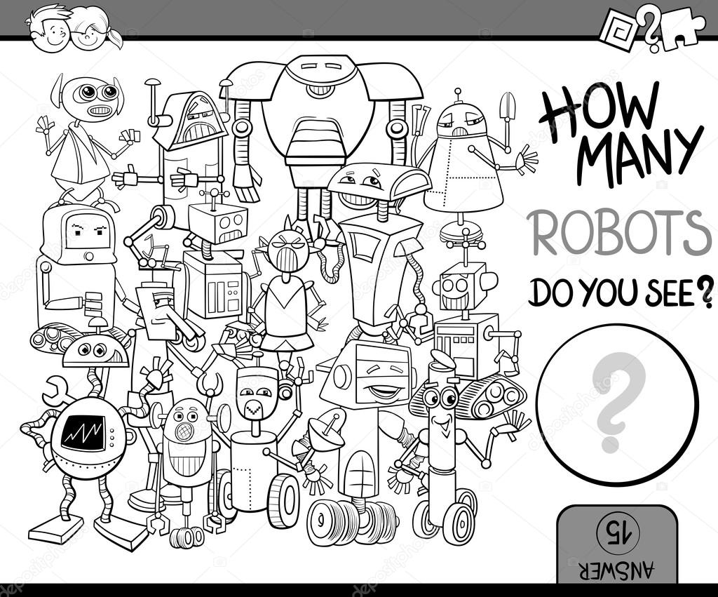 how many robots coloring page u2014 stock vector izakowski 101131904