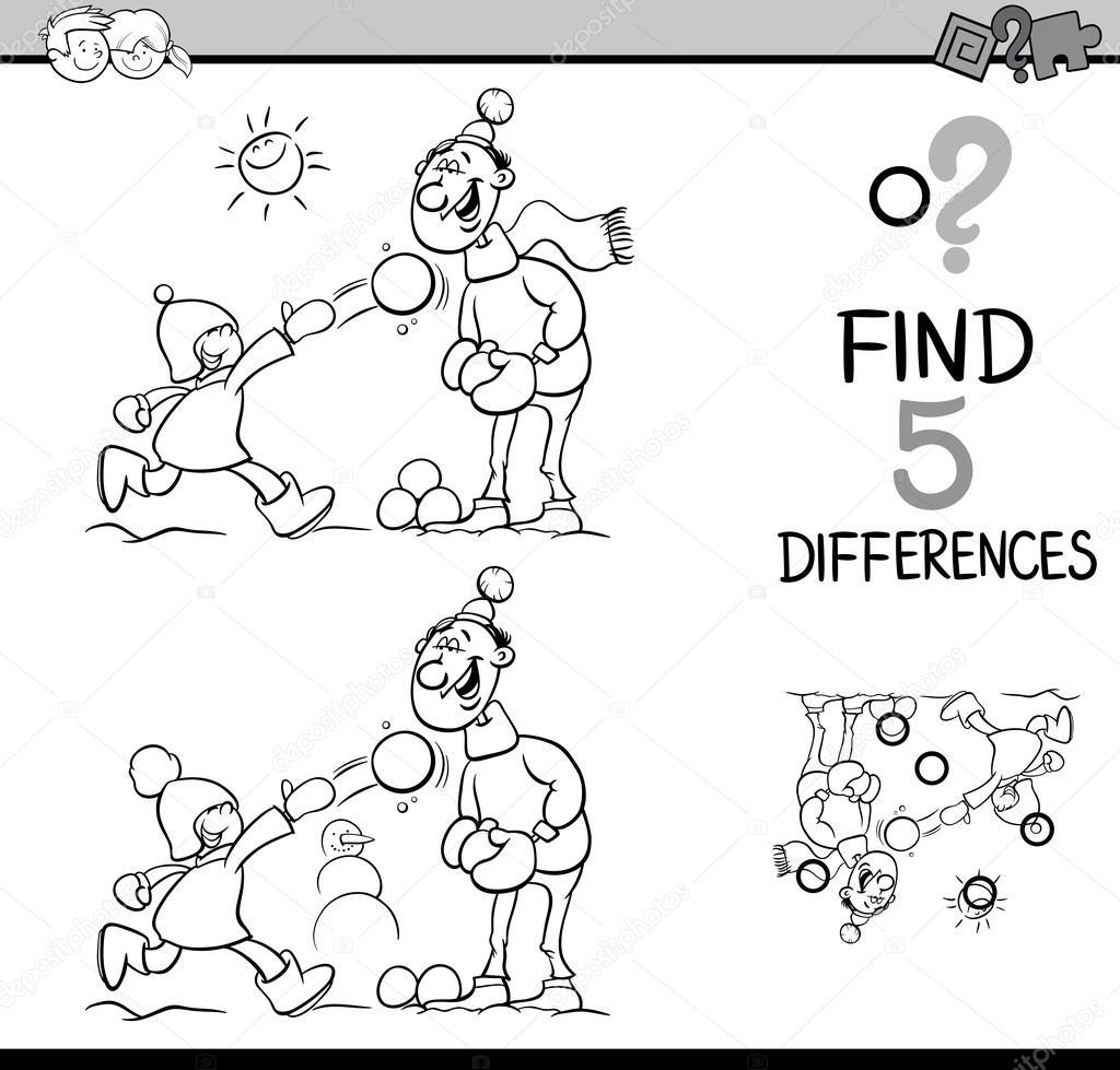 tarea de libro de colorear de diferencias — Archivo Imágenes ...
