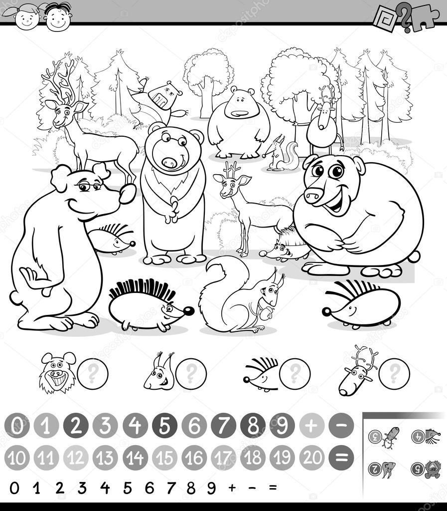 Sayım Hayvan Boyama Kitabı Stok Vektör Izakowski 103601556
