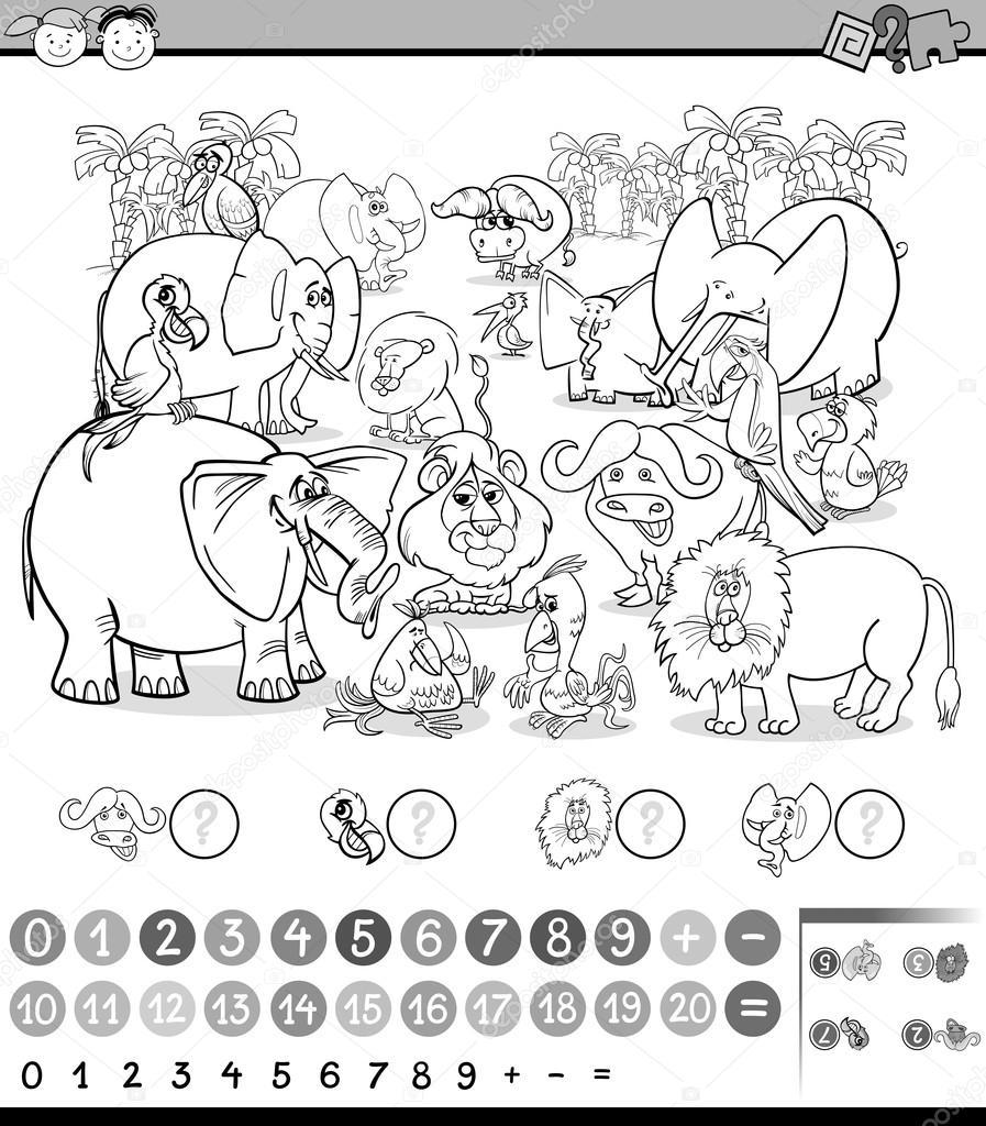 Oyun Boyama Sayfası Hesaplama Stok Vektör Izakowski 103601624