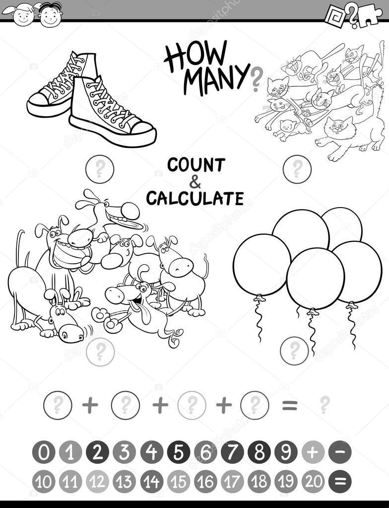 Matematik çocuklar Avtivity Boyama Kitabı Stok Vektör Izakowski