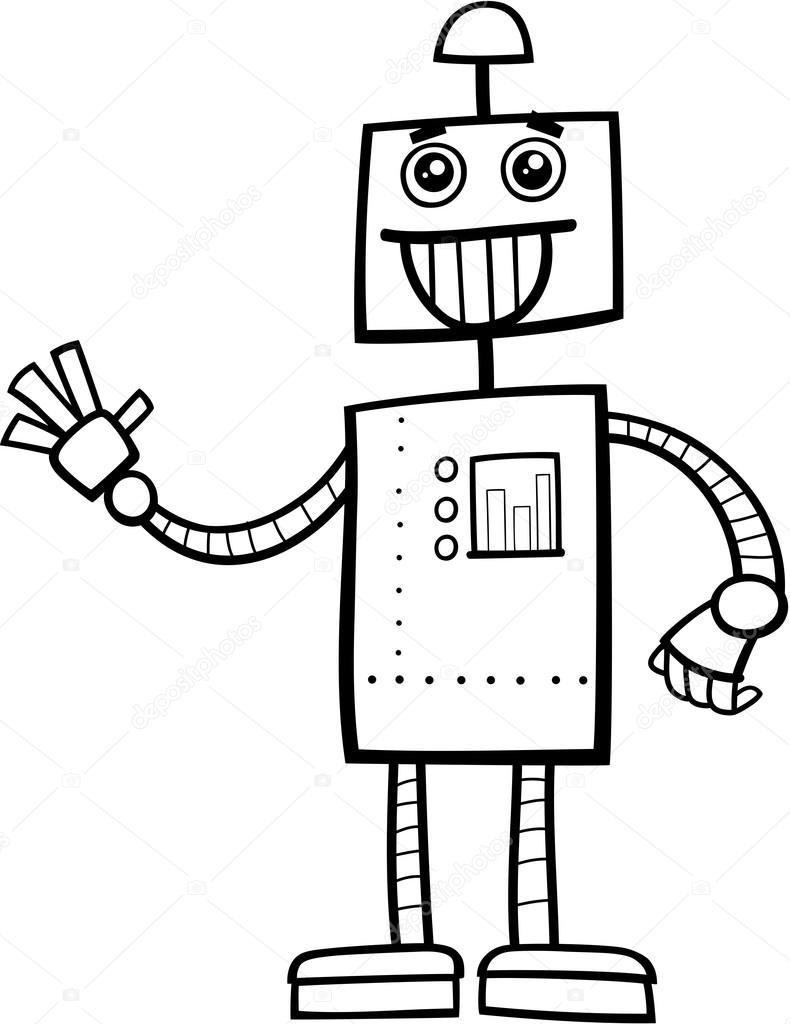 Página para colorear personaje de robot — Vector de stock ...