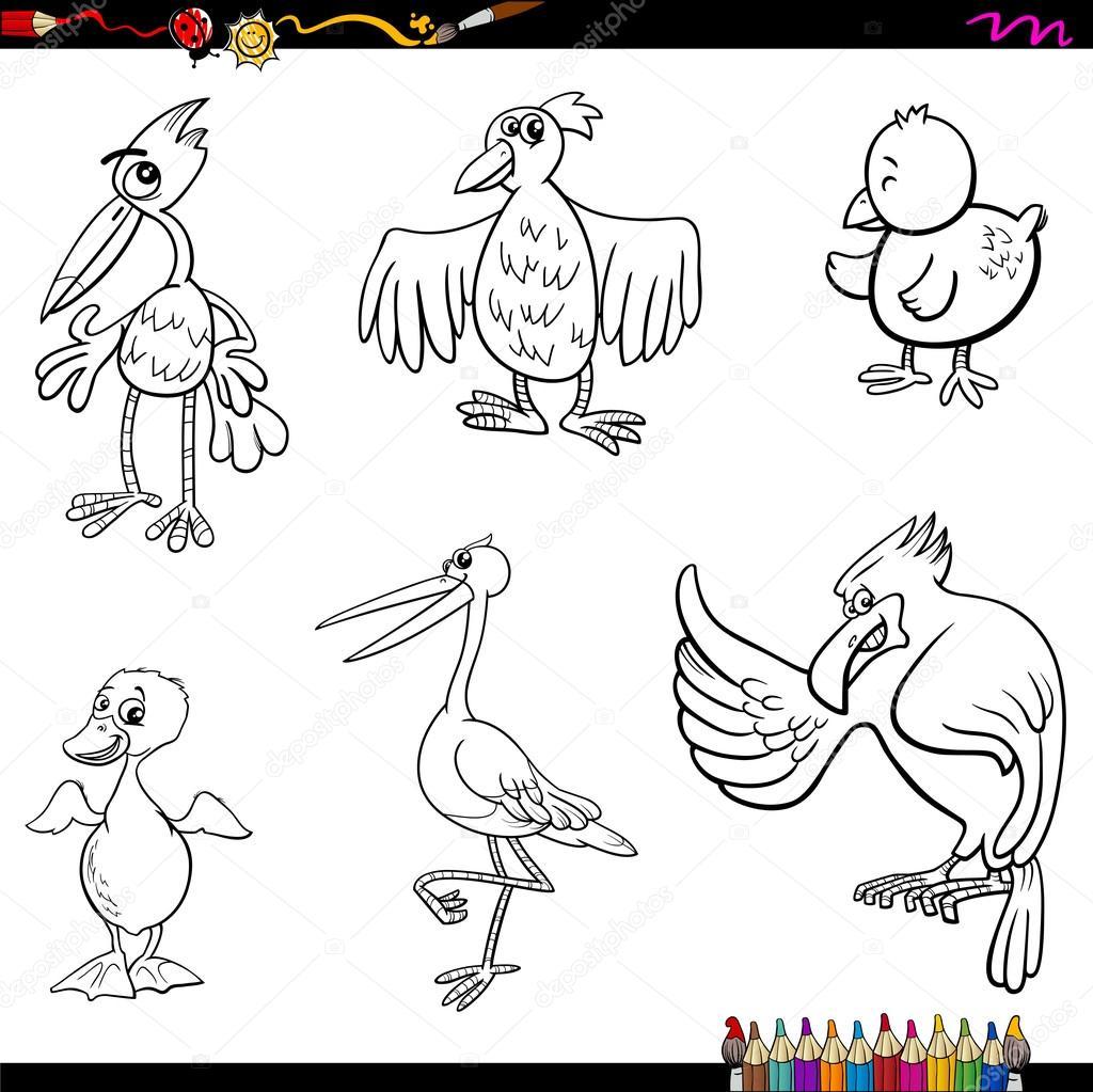 Página de aves de dibujos animados para colorear — Vector de stock ...