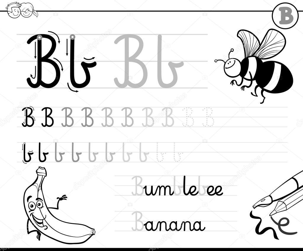 Buchstabe b schreiben lernen — Stockvektor © izakowski #114857422