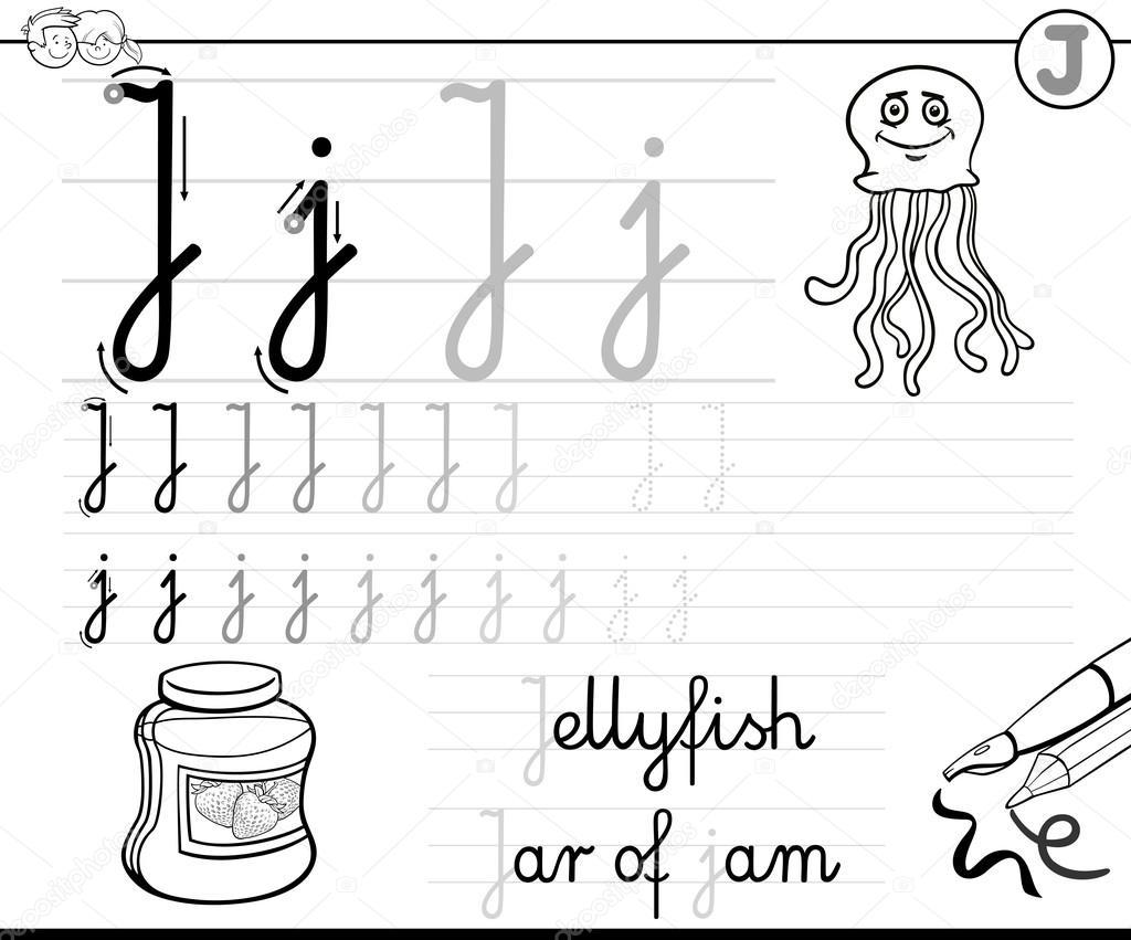 aprender a escribir letra j — Vector de stock © izakowski #115037228