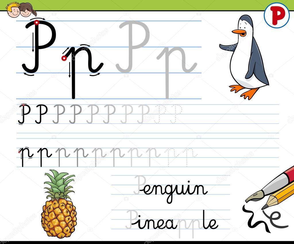 Gewusst wie: Schreiben von Buchstaben p — Stockvektor © izakowski ...